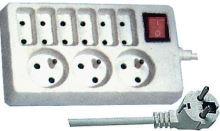 prodlužovací kabel 1,5m / 3+6 zásuvek vypínač - bílý