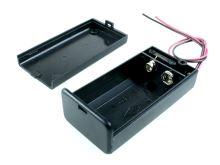 plastový držák baterie 9V pouzdro s víčkem a vipínačm a drátovými vývody