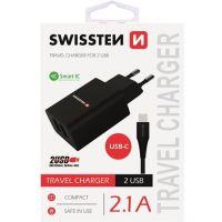 Swissten nabíječka 5V 2X2,1A černá USB-C kabel
