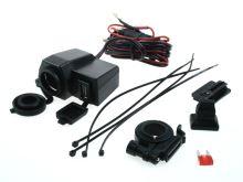 autozásuvka pro motocykl 12V + USB s montáží na řídítka