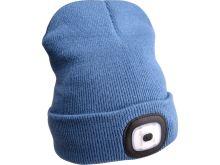 svítilna čepice s čelovkou 4x45lm, USB nabíjení, modrá