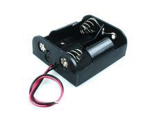 """plastový držák baterie 2xR14 (C,""""malý buřt"""") s drátovými vývody"""