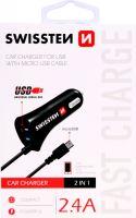 napáječ 12V-24V/USB (1xUSB+1xuUSB kabel) SWISSTEN