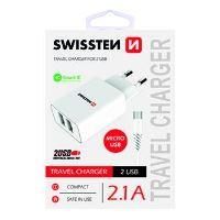Swissten nabíječka 5V 2X2,1A bílá micro USB kabel