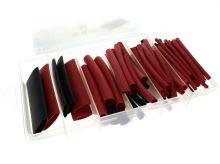 sada červených a černých teplem smrštitelných bužírek s LEPIDLEM celkem 80ks (7,6cm - prům. 3,2 / 4,8 / 6,4 / 9,5 / 12,7/ 19,1mm )