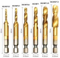 """vrták se zavítníkem do kovu, sada - M3, M4, M5, M6, M8, M10 - bity1/4"""" HSS"""