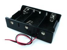 """plastový držák baterie 3xR20 (D,""""velký buřt"""") s drátovými vývody"""