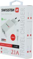 Swissten nabíječka 5V 2X2,1A bílá USB-C kabel